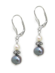 Sterling Silver Celene Cultured Pearl Bead and Drop Earrings, Peacock