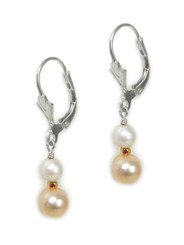 Sterling Silver Devonna Cultured Pearl Bead and Drop Earrings, Pink