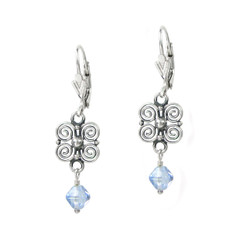 Sterling Silver Scroll Flower and Crystal Leverback Drop Earrings, Aqua