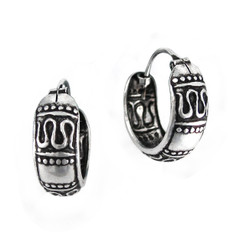 Sterling Silver Swirl Bali Band Hoop Earrings, 15mm