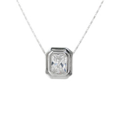Sterling Silver Solitaire Emerald Cut Shape Crystal Slider Chain Necklace