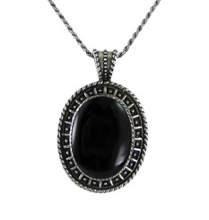 Sterling Silver Oval Stone Pendant Necklace, Onyx