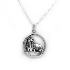 Sterling Silver Walrus Circle Charm Pendant Necklace