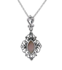Sterling Silver Filigree Marquise Stone Pendant Necklace, Pink Shell