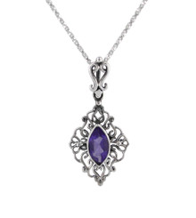 Sterling Silver Filigree Marquise Stone Pendant Necklace, Purple
