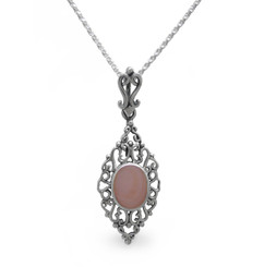 Sterling Silver Filigree Oval Stone Ella Pendant Necklace, Pink Shell