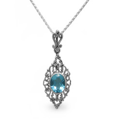Sterling Silver Filigree Oval Stone Ella Pendant Necklace, Aqua
