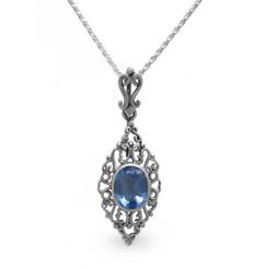 Sterling Silver Filigree Oval Stone Ella Pendant Necklace, Blue