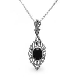 Sterling Silver Filigree Oval Stone Ella Pendant Necklace, Black