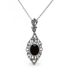 Sterling Silver Filigree Oval Stone Ella Pendant Necklace, Red