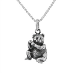 Sterling Silver Bear Charm Necklace