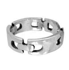 Sterling Silver Rectangular Chain Link Design Ring
