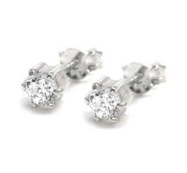 Sparkling 4mm Round Cubic Zirconia 6 Prongs Stud Post Earrings, Clear