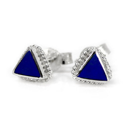 Sterling Silver Triangle Stone Inlay Rope Design Stud Post Earrings, Lapis Lazuli