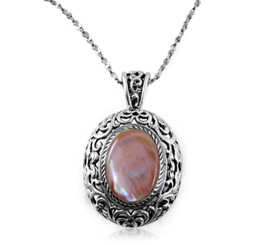 """Sterling Silver """"Jolicoeur"""" Cultured Pink Shell Necklace, 18"""""""