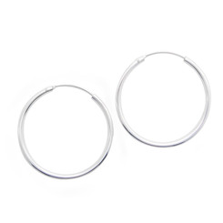 Sterling Silver Endless Round Tube 2mm Thick Hoop Earrings, 30mm