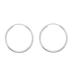 Sterling Silver Endless Round Tube 2mm Thick Hoop Earrings, 35mm
