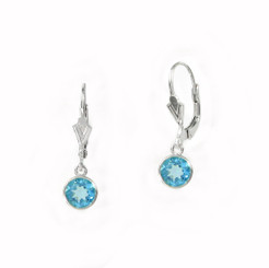Sterling Silver 6mm Crystal Solitaire Leverback Drop Earrings, Aqua