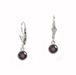 Sterling Silver 6mm Crystal Solitaire Leverback Drop Earrings, Purple
