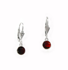 Sterling Silver 6mm Crystal Solitaire Leverback Drop Earrings, Red