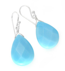 Sterling Silver Crystal Teardrop Drop Hook Earrings, Sky Blue