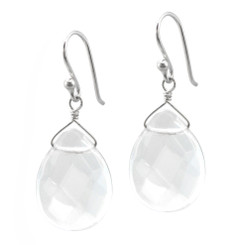 Sterling Silver Crystal Teardrop Drop Hook Earrings, Clear