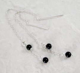 Sterling Silver Round Stone on Chain Ear Thread, Onyx
