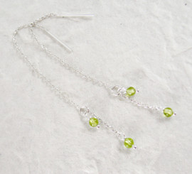 Sterling Silver Round Stone on Chain Ear Thread, Pearidot