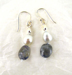 Knotted Labradorite Pearl Silver Bead Drop Earrings