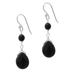 Sterling Silver Top Stone and Teardrop Drop Earrings, Black