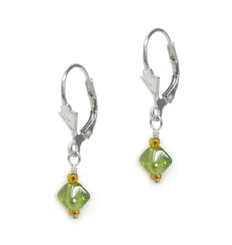 Sterling Silver Dainty Colorful Crystal Drop Leverback Earrings, Green