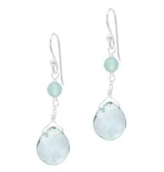 Sterling Silver Top Stone and Teardrop Drop Earrings, Aqua