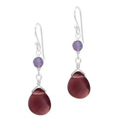 Sterling Silver Top Stone and Teardrop Drop Earrings, Purple