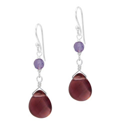 Sterling Silver Top Stone and Teardrop Crystal Drop Earrings, Purple