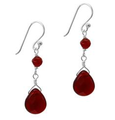 Sterling Silver Top Stone and Teardrop Drop Earrings, Red