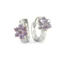 Sterling Silver Flower Crystal Huggie Hoop Earrings, Lavender