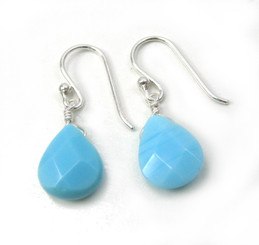 Sterling Silver Crystal Teardrop Drop Earrings, Sky Blue