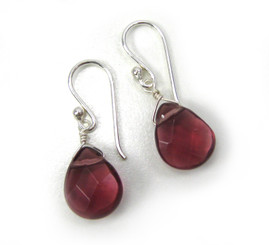 Sterling Silver Crystal Teardrop Drop Earrings, Purple