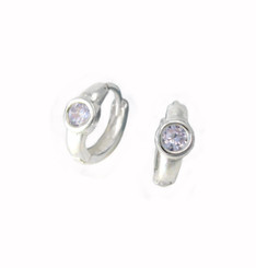 Sterling Silver Round Crystal Solitaire Huggies Hoop Earrings, Light Lavender
