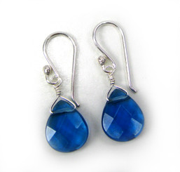 Sterling Silver Crystal Teardrop Drop Earrings, Midnight Blue