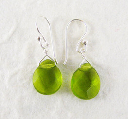 Sterling Silver Crystal Teardrop Drop Earrings, Spring Green