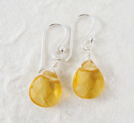 Sterling Silver Crystal Teardrop Drop Earrings, Yellow