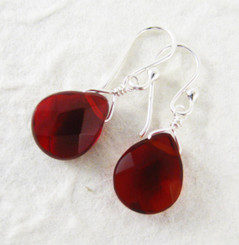 Sterling Silver Crystal Teardrop Drop Earrings, Red