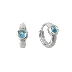 Sterling Silver Round Crystal Solitaire Huggies Hoop Earrings, Aqua