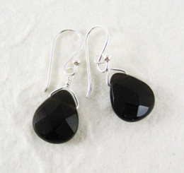 Sterling Silver Crystal Teardrop Drop Earrings, Black