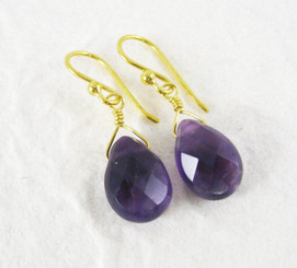 Gold Plated Sterling Silver Teardrop Stone Drop Earrings, Amethyst