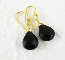 Gold Plated Sterling Silver Crystal Teardrop Drop Earrings, Black