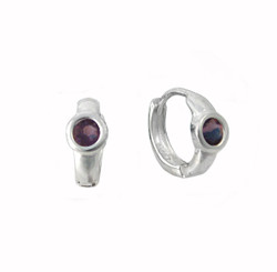 Sterling Silver Round Crystal Solitaire Huggies Hoop Earrings, Purple