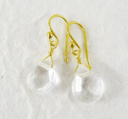 Gold Plated Sterling Silver Crystal Teardrop Drop Earrings, Clear