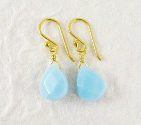 Gold Plated Sterling Silver Crystal Teardrop Drop Earrings, Sky Blue